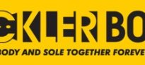 """Black Buckler Boots text and tag line """"body and sole together forever"""" in a yellow rectangle (Buckler Boots logo)"""