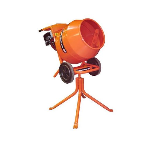 Compact and portable Orange Belle Minimix 150 with wheels, on its stand on a white background