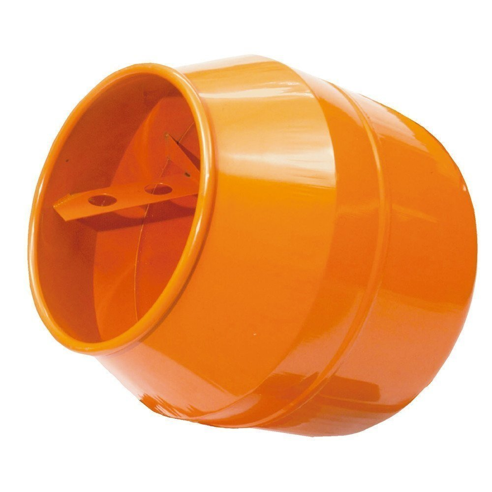 Orange mixer drum for Belle minimix 150/140 mixer on a white background