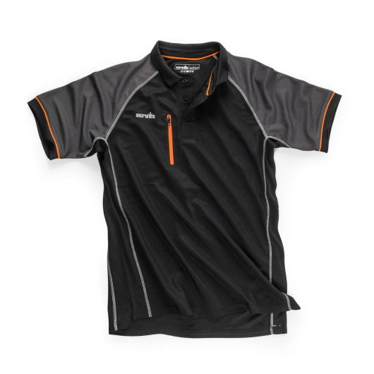 Scruffs trade active polo in black with graphite raglan sleeves, contrasting grey stitching and orange detailing