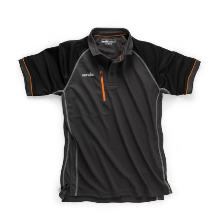 Scruffs trade active polo in a graphite colour with black raglan sleeves, contrasting grey stitching and orange detailing