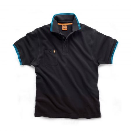 Black Scruffs worker polo with buttoned chest pocket and contrasting blue tipping on the sleeve cuffs and collar