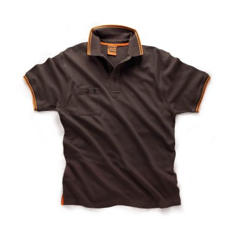 Graphite Scruffs worker polo with buttoned chest pocket and contrasting orange tipping on the sleeve cuffs and collar
