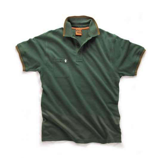 Green Scruffs worker polo with buttoned chest pocket and contrasting yellow tipping on the sleeve cuffs and collar