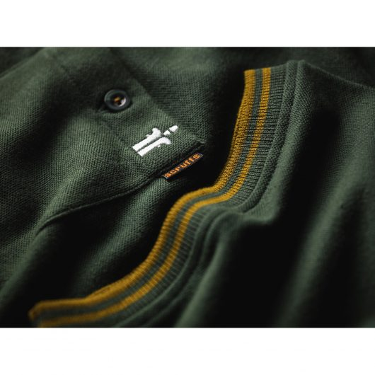 Buttoned chest pocket with Scruffs branding and cuff with contrasting yellow tipping on Scruffs Worker Polo in Green
