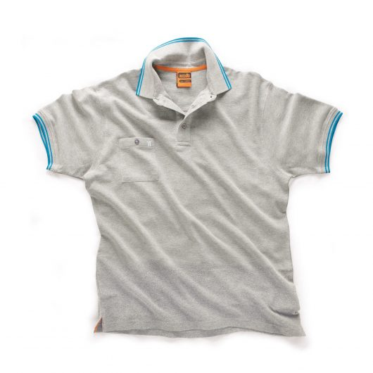 Grey Scruffs worker polo with buttoned chest pocket and contrasting blue tipping on the sleeve cuffs and collar