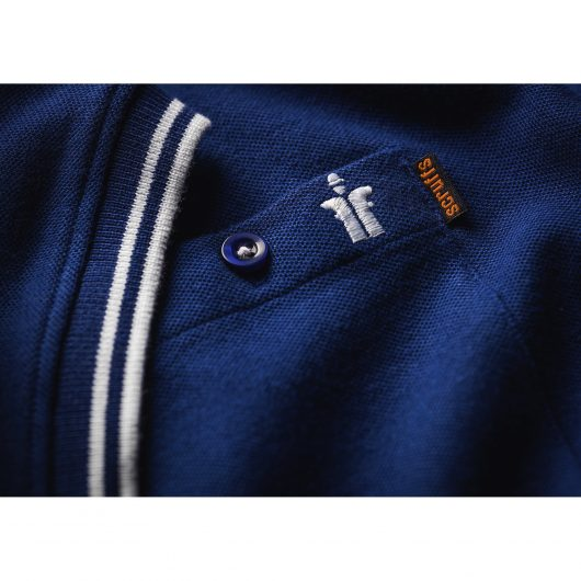 Buttoned chest pocket with Scruffs branding and cuff with contrasting white tipping on Scruffs worker Polo in Navy