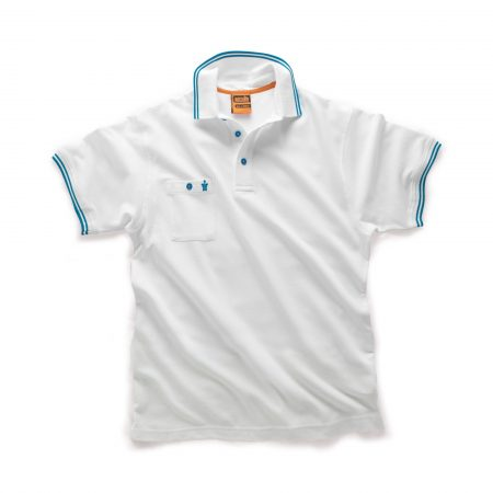 White Scruffs worker polo with buttoned chest pocket and contrasting blue tipping on the sleeve cuffs and collar