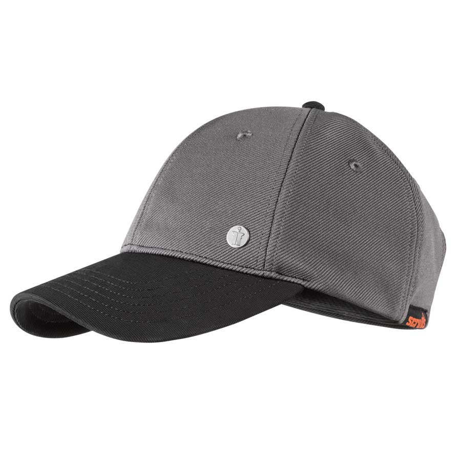 Grey polyester work cap from Scruffs with a black peak, metal scruffs logo to the front and scruffs logo label to the side