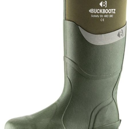 Knee high Buckler BBZ6000 Safety wellington in green with neoprene around calf area featuring white Buckler logo