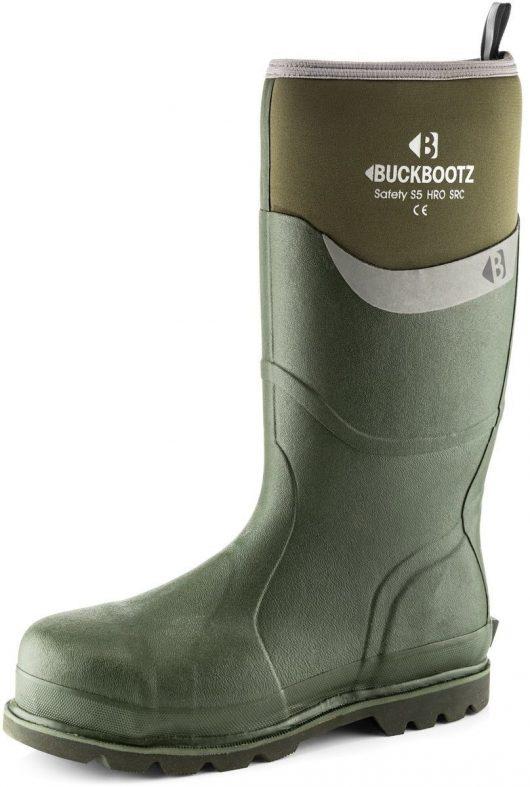 Knee high Buckler BBZ6000 Safety wellington in green with neoprene around calf area featuring white Buckler logo