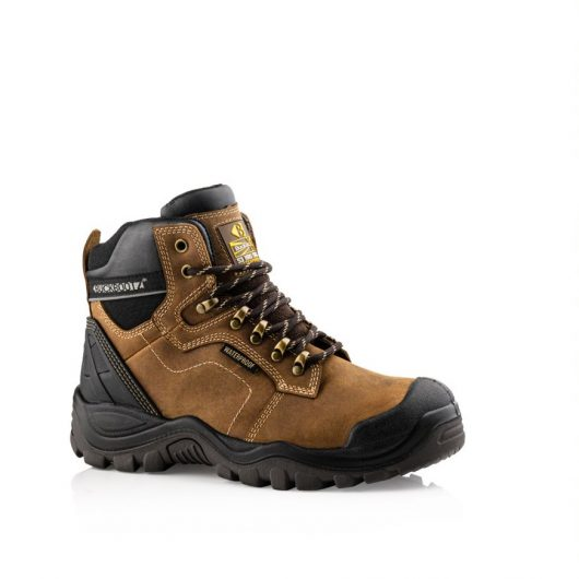 This image shows Buckler 009 safety boot in brown with scuff guard and padded collar/tongue for comfort and support