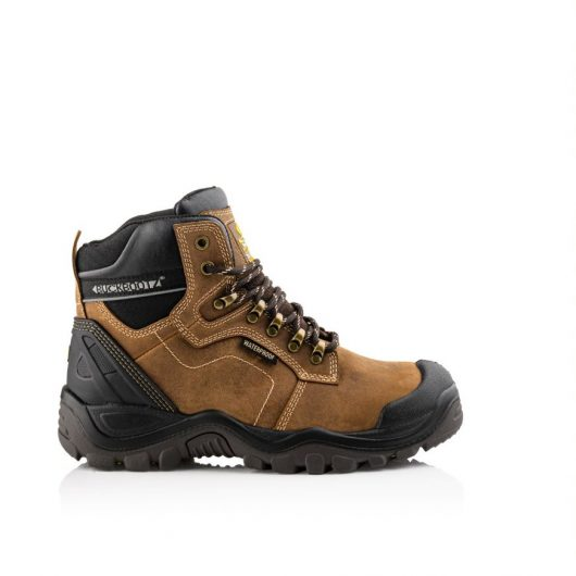 Shows a side profile of Buckler 009 brown safety boot