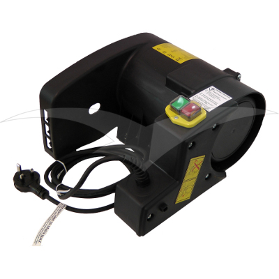 Belle Minimix 150 black motor kit with yellow safety stickers, 3 pin plug and green on switch and red off switch