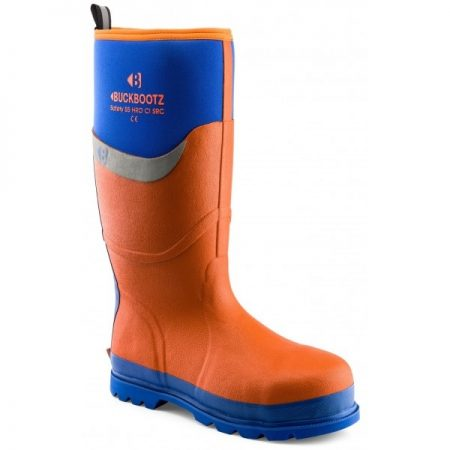 Knee high Buckler BBZ6000 Safety wellington in orange with blue sole and blue neoprene with Buckler logo around calf area