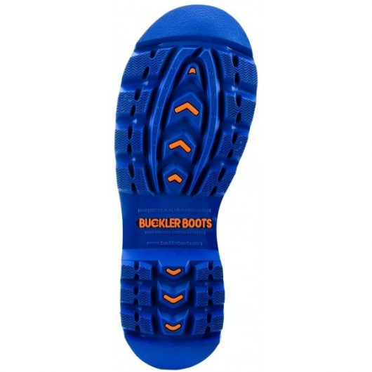 Blue sole of Buckler BBZ6000OR wellington boots with orange Buckler Boots logo in centre of sole