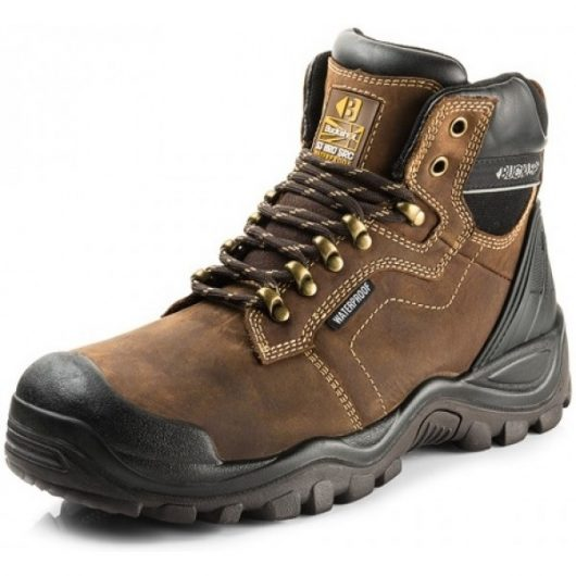 Dark brown leather Buckler BSH009 lace safety boot with contrasting light brown stitching and yellow Buckler logo on tongue