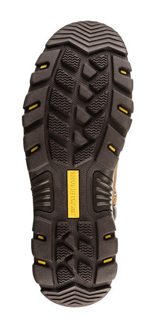 Bottom view of rubber sole on the Buckler BSH009 safety boot with yellow Buckler logo in centre of sole
