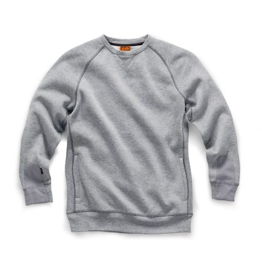 Grey marl cotton trade sweatshirt from Scruffs with ribbed side panels, cuffs and hem and pockets to the side