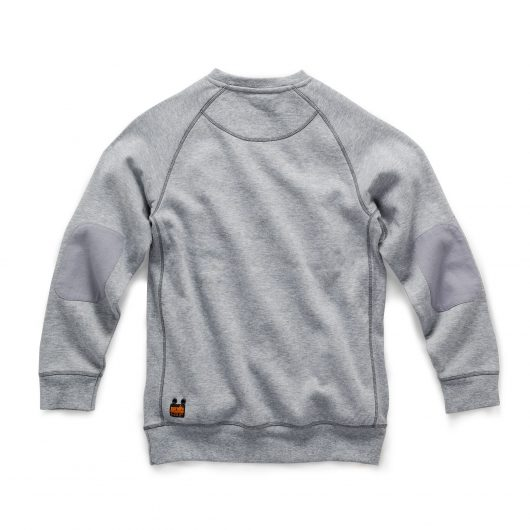 Back view of Scruffs grey marl cotton trade sweatshirt with abrasion resistant elbow patches and scruffs logo bottom left