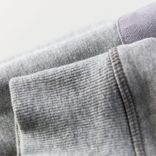 Close up of ribbed cuffs on the Scruffs Trade Sweatshirt in Grey Marl