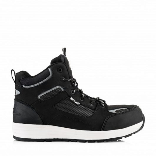 Side view of leather lace up Buckler Baz safety boot in black with white soles on a white background