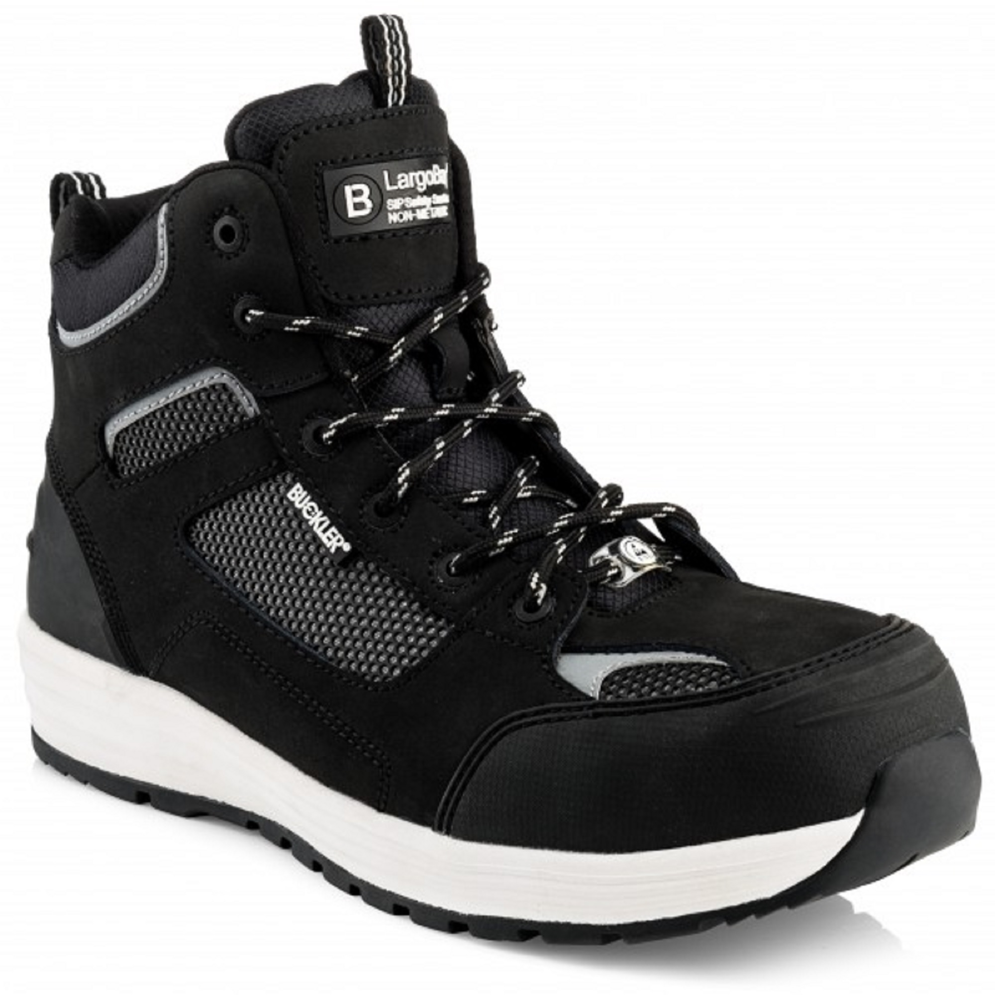 Leather lace up Buckler Baz safety boot in black with white soles on a white background