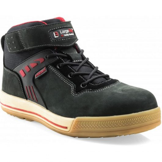 Black leather Buckler Duke safety sneaker boot in a lace up design with red detailing and contrasting white stitching