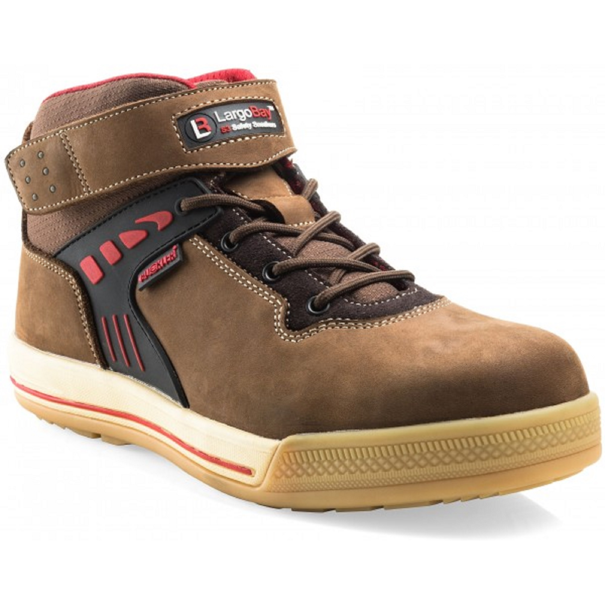 Brown leather Buckler Duke safety sneaker boot in a lace up design with red detailing and contrasting white stitching