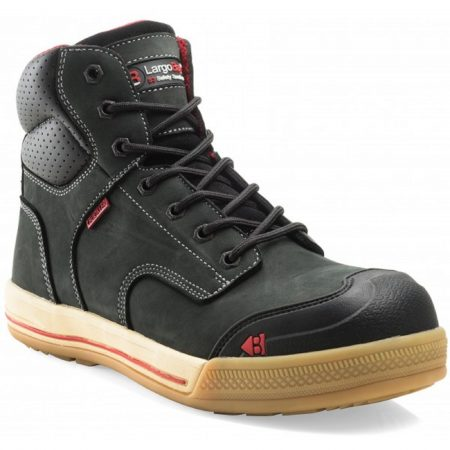 Buckler Eazy lace up safety boot made from a black crazy horse leather with red Buckler detailing on a white background