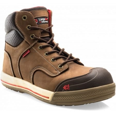 Buckler Eazy lace up safety boot made from a brown crazy horse leather with red Buckler detailing on a white background