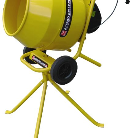 Compact and portable Yellow Belle Minimix 140 with wheels, on its stand on a white background
