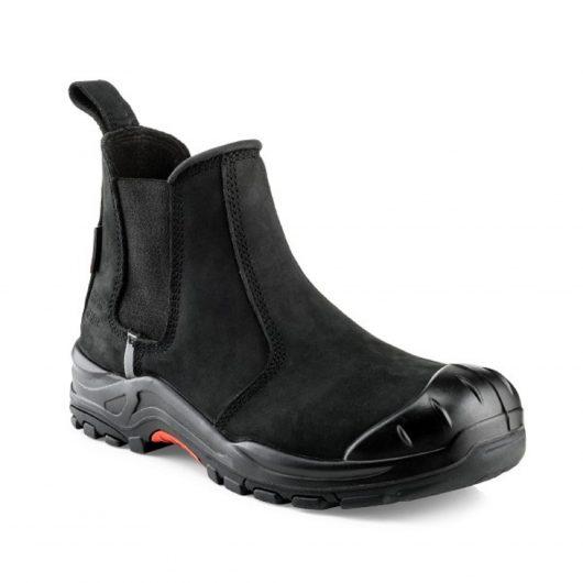 Black slip on nubuck leather Buckler NKZ101BK safety dealer boot on white background