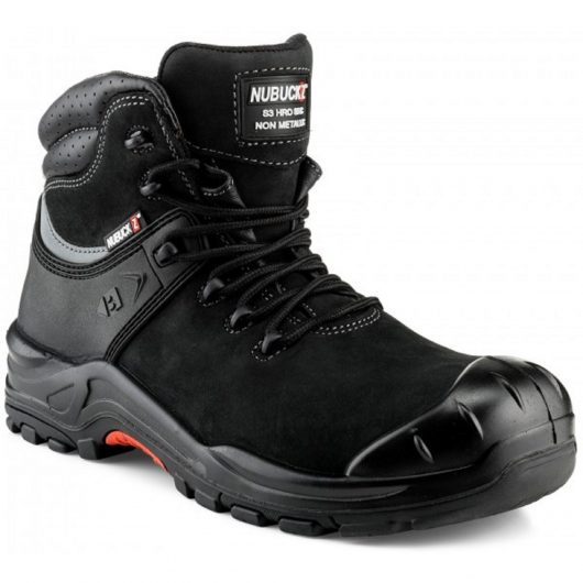Buckler NKZ102BK lace up safety boot made from a black nubuck leather with contrasting grey stitching on a white background