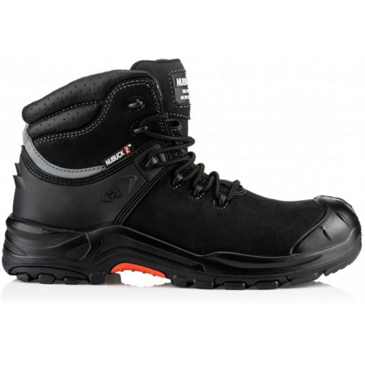 Side view of Black Buckler NKZ102 nubuck leather lace up safety boot on white background