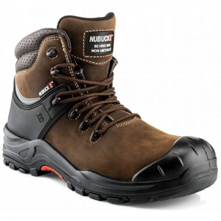 Buckler NKZ102BR lace up safety boot made from a brown nubuck leather with contrasting white stitching on a white background