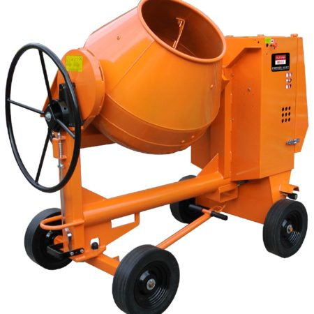 Orange Belle Premier XT site mixer with 4 black wheels and a black wheel to change mixer drum angle on a white background