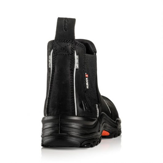 This image shows the back of Buckler NKZ101 black sfaty dealer boot with pull tab