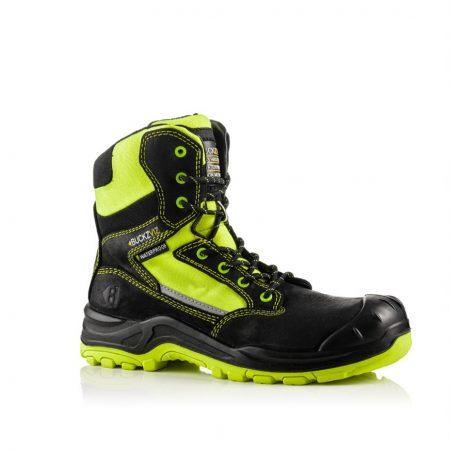 This image shows Buckler Bviz yellow high leg safety boot