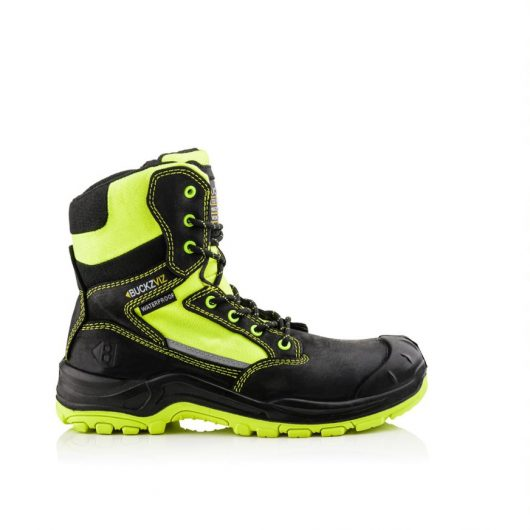 This image shows Buckler Bviz1 yellow safety boot with scuff guard and padded collar
