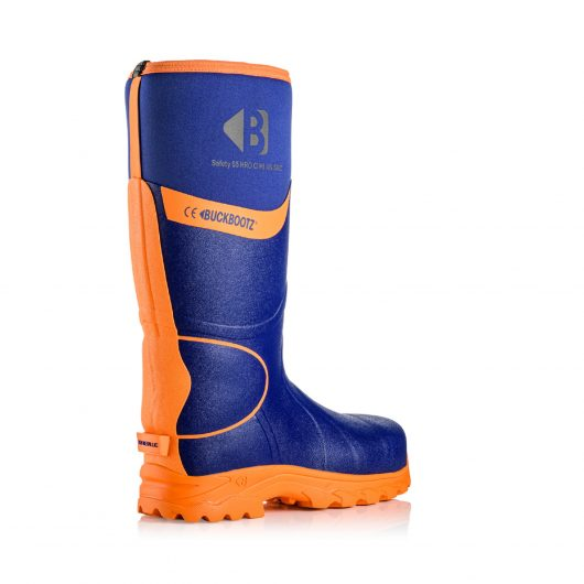 Image shows rear view of Buckler BBZ8000 Blue with hi-viz reflective strip from sole to top of boot