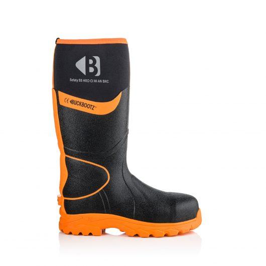 Images shows main side profile of Buckler BBZ8000 Black with hi-viz detailing and orange sole