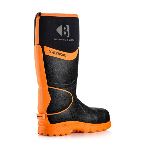 Image shows rear profile of Buckler BBZ8000 Black with reflective strip from sole to top of boot