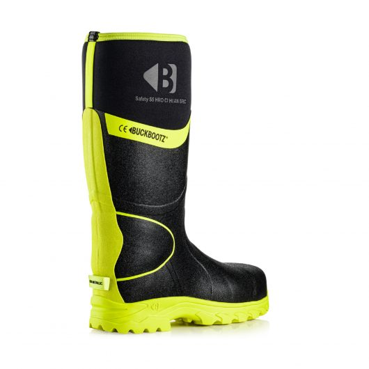 Image shows rear view of Buckler BBZ8000 Black/Yellow with reflective hi-viz strip from sole to top of boot