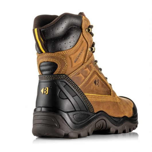 This image shows a rear view of the Buckler BSH011 Brown lace up boot with drivers heel flex feature