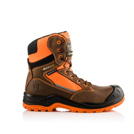 This image shows a side view of the Buckler BVIZ1ORBR high leg lace/zipper boot with hi-viz detailing