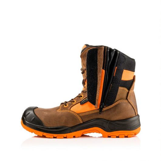 This image shows the hidden zipper of the Buckler BVIZ1ORBR safety boot