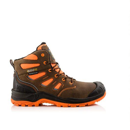 This image shows the side profile of Buckler BVIZ2 Orange/Brown boot with hi-viz detailing