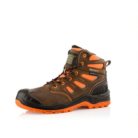This image shows a side view of the Buckler BVIZ2 Orange/Brown lace safety boot