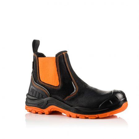 This image shows a side view of the Buckler BVIZ3 Orange/Black Safety Dealer boot